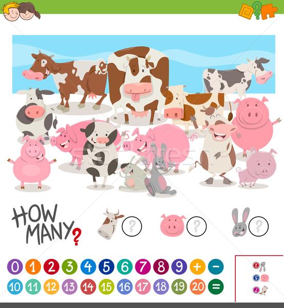 Oyun çiftlik hayvanları karikatür örnek matematiksel Stok fotoğraf © izakowski