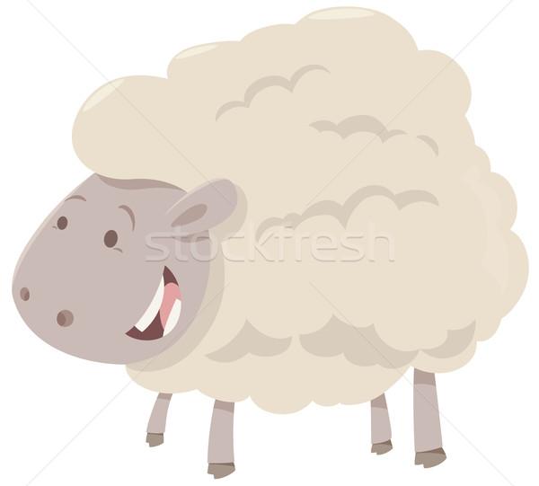 Fazenda ovelha animal desenho animado ilustração alegre Foto stock © izakowski