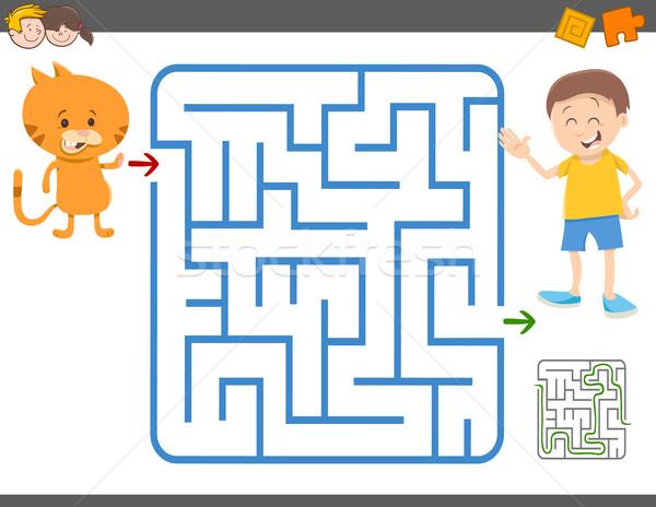 лабиринт игры детей Cartoon иллюстрация образование Сток-фото © izakowski