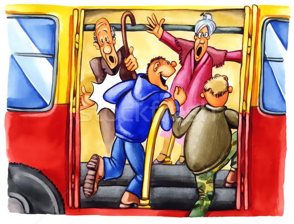 Ondeugend jongens bushalte schilderij illustratie vrouw Stockfoto © izakowski
