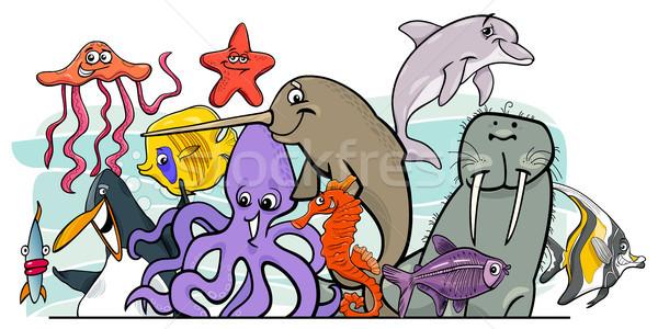 Cartoon sea life animal characters group Stock photo © izakowski