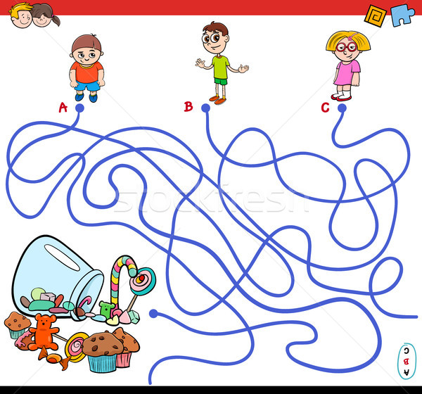cartoon paths maze game with kids and candy Stock photo © izakowski
