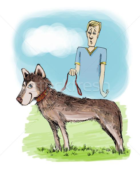 Husky hond tentoonstelling illustratie eigenaar glimlach Stockfoto © izakowski