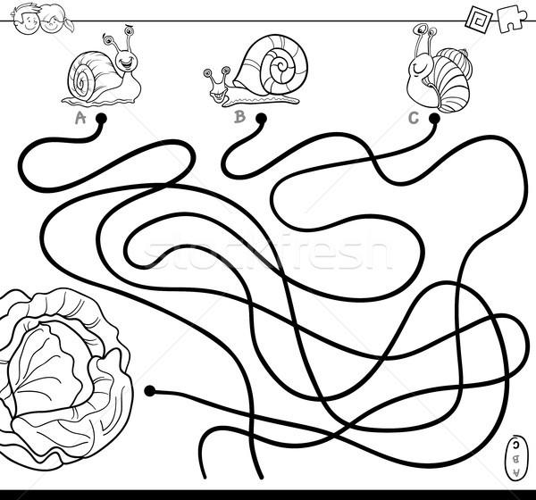 Labirent marul boyama kitabı siyah beyaz karikatür örnek Stok fotoğraf © izakowski