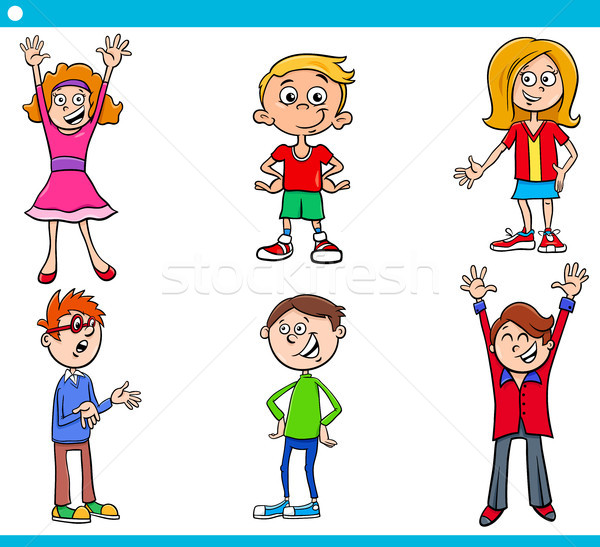 elementary age children characters cartoon set Stock photo © izakowski