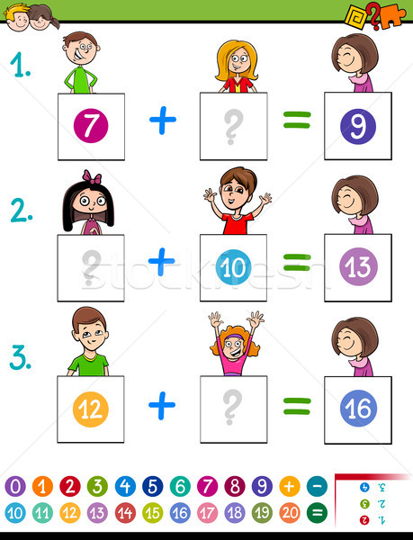 maths addition educational game with funny kids Stock photo © izakowski