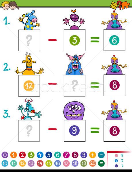 Matematika kivonás játék szörny betűk rajz Stock fotó © izakowski