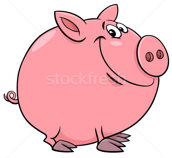 funny pig character cartoon illustration Stock photo © izakowski