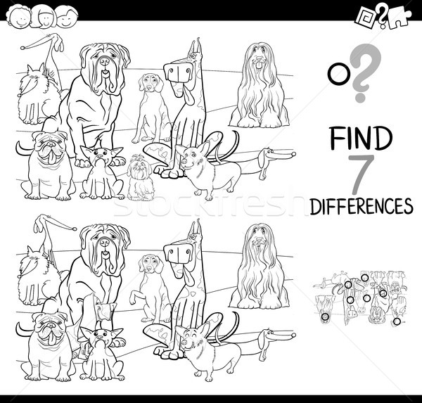 differences game with dogs coloring book Stock photo © izakowski