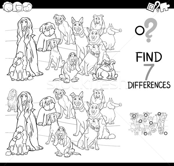 Stock photo: differences game with dog animals color book