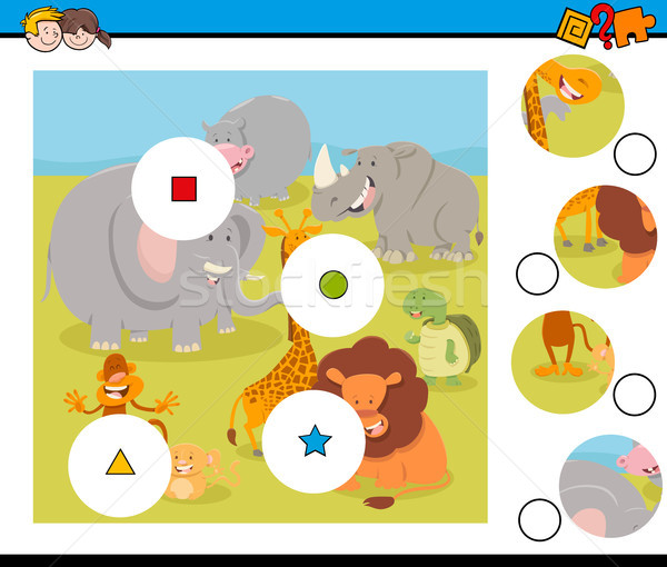 Match pièces puzzle animaux de safari cartoon illustration Photo stock © izakowski