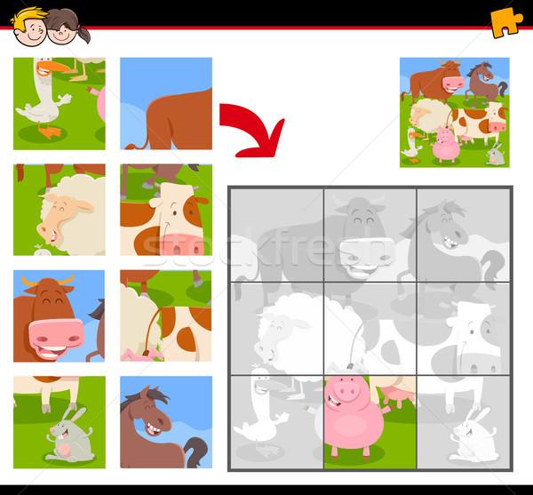 Gelukkig boerderijdieren cartoon illustratie onderwijs Stockfoto © izakowski