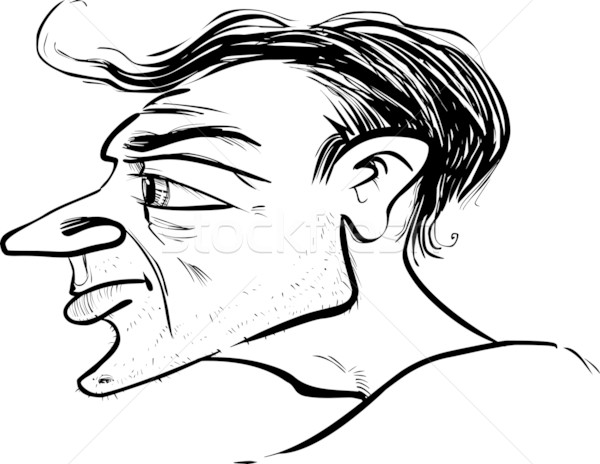 Hombre perfil caricatura boceto ilustración cara Foto stock © izakowski