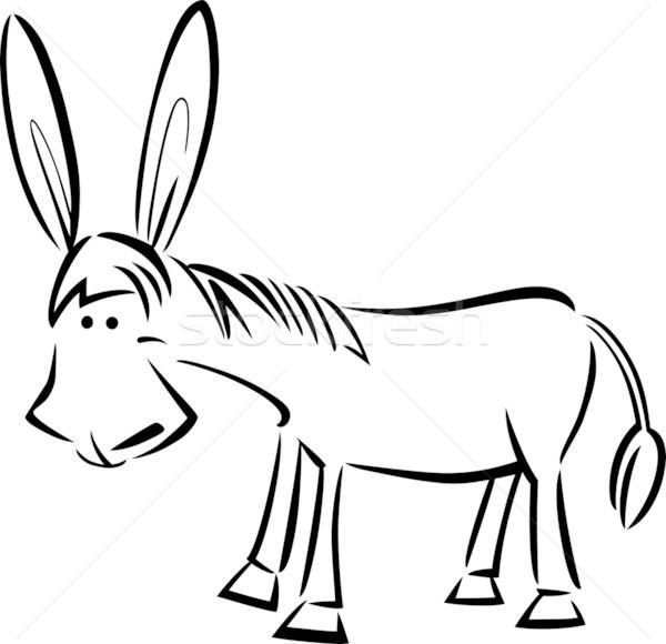 Desenho animado ilustração burro bonitinho livro para colorir sorrir Foto stock © izakowski