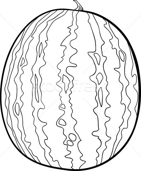Karpuz örnek Boyama Kitabı Siyah Beyaz Karikatür Meyve