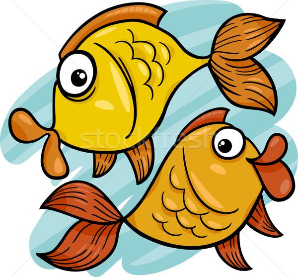zodiac pisces or fish cartoon Stock photo © izakowski