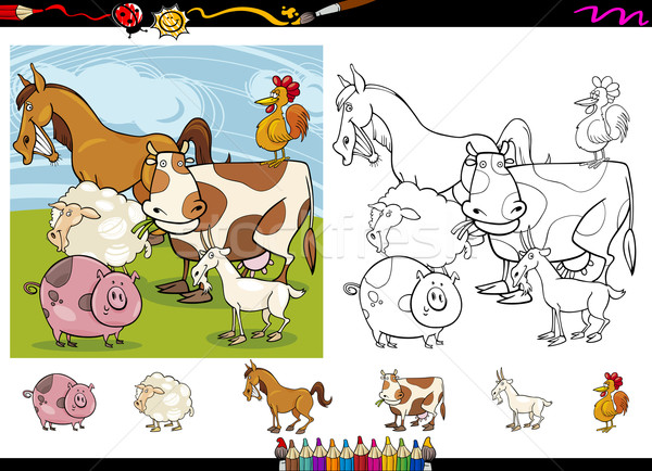 Stock photo: farm animals cartoon coloring page set