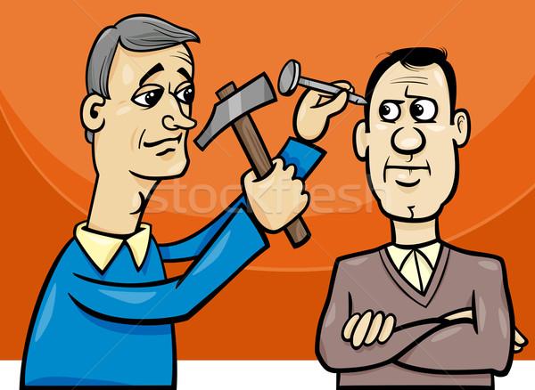 Nagel hoofd cartoon illustratie gezegde spreekwoord Stockfoto © izakowski