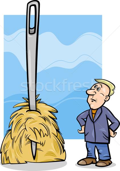 Iğne kuru ot yığını karikatür mizah örnek Stok fotoğraf © izakowski