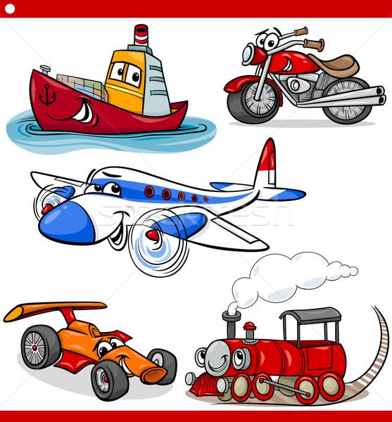 funny cartoon vehicles and cars set Stock photo © izakowski
