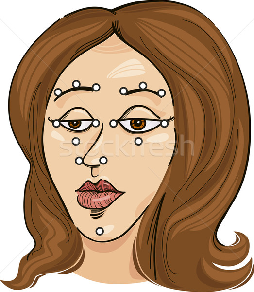 акупрессура лице иллюстрация медицина кожи Сток-фото © izakowski