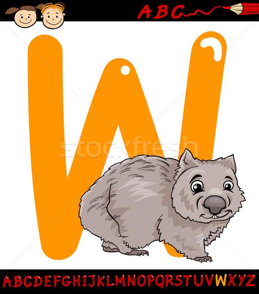 Wombat cartoon illustratie hoofdletter alfabet Stockfoto © izakowski