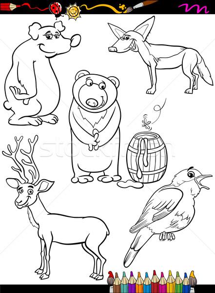 animals set cartoon coloring page Stock photo © izakowski