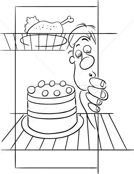 Hambriento hombre dieta dibujo blanco negro Cartoon Foto stock © izakowski