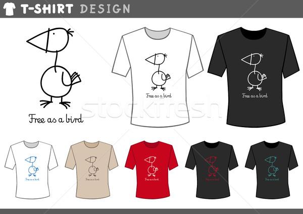 t shirt design with funny bird Stock photo © izakowski