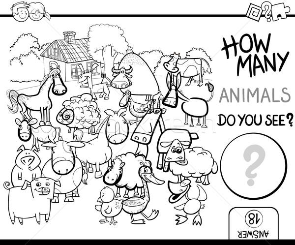 count farm animals for coloring Stock photo © izakowski