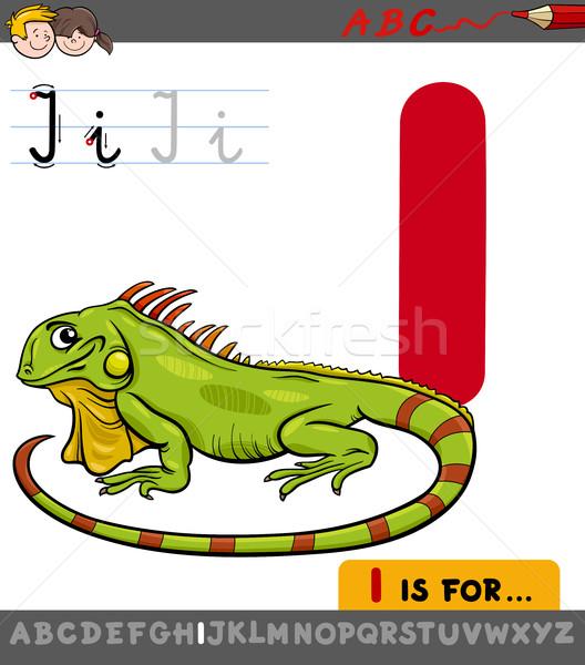 Letter i cartoon leguaan onderwijs illustratie alfabet Stockfoto © izakowski
