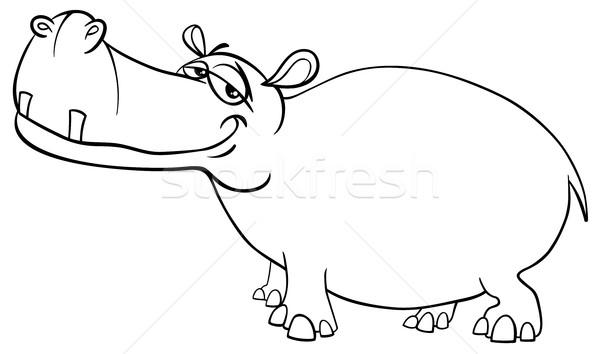 бегемот характер страница черно белые Cartoon иллюстрация Сток-фото © izakowski