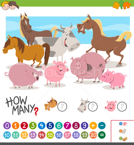 game of counting animals Stock photo © izakowski