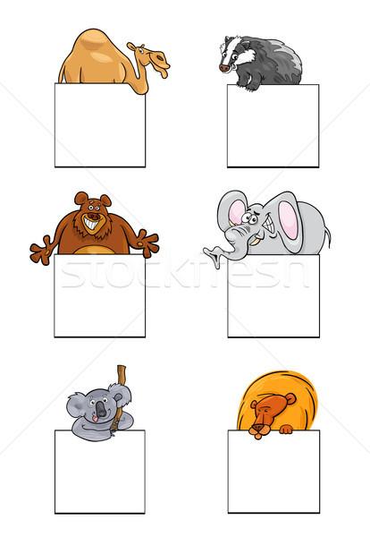 животные карт Баннеры дизайна набор Cartoon Сток-фото © izakowski
