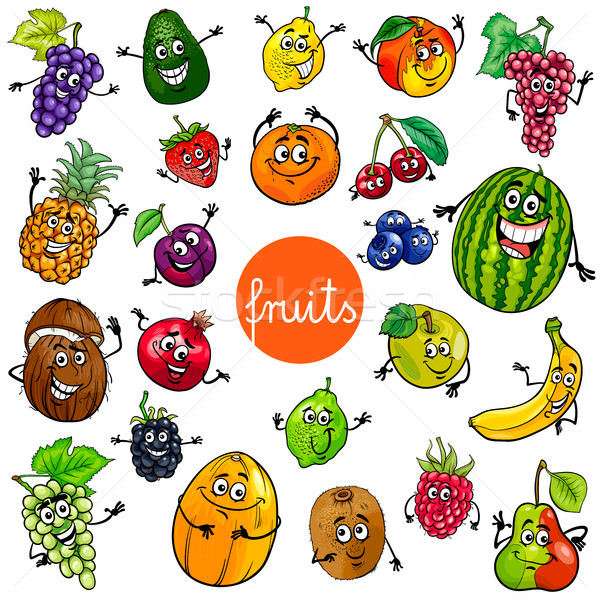 cartoon fruits characters collection Stock photo © izakowski