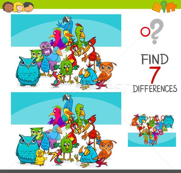 Encontrar diferenças aves animal desenho animado Foto stock © izakowski
