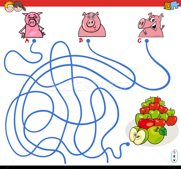 paths maze game with pigs and apples Stock photo © izakowski