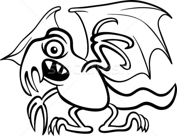 Canavar Karikatür Boyama Kitabı Siyah Beyaz örnek