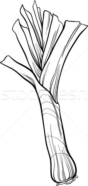 Póréhagyma zöldség rajz kifestőkönyv feketefehér illusztráció Stock fotó © izakowski