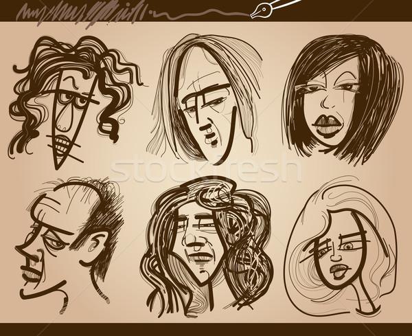Emberek arcok karikatúra rajzok szett rajz Stock fotó © izakowski