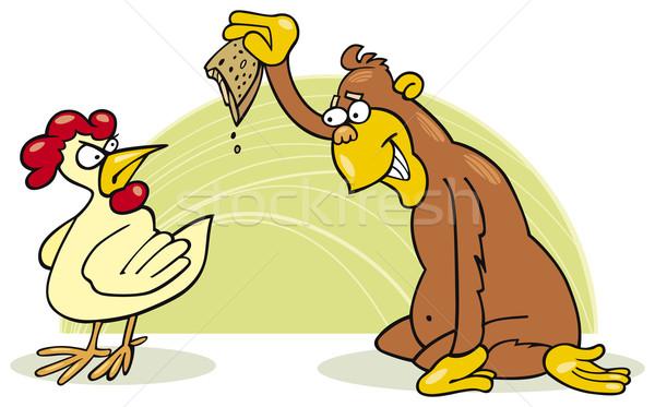 Monkey and chicken Stock photo © izakowski