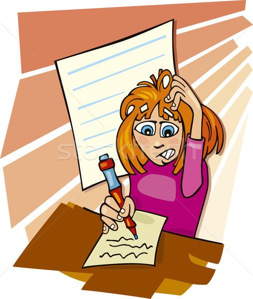 Dziewczyna trudny test cartoon ilustracja Zdjęcia stock © izakowski