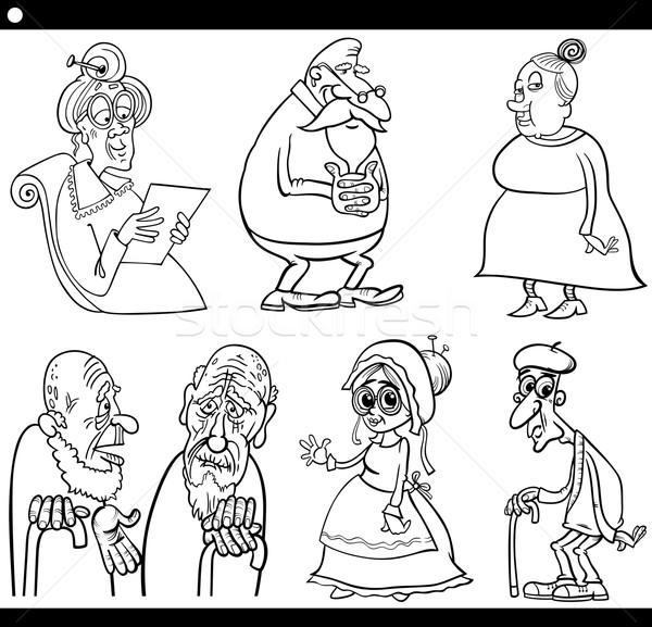 Yaşlılar Ayarlamak Karikatür Boyama Kitabı Siyah Beyaz