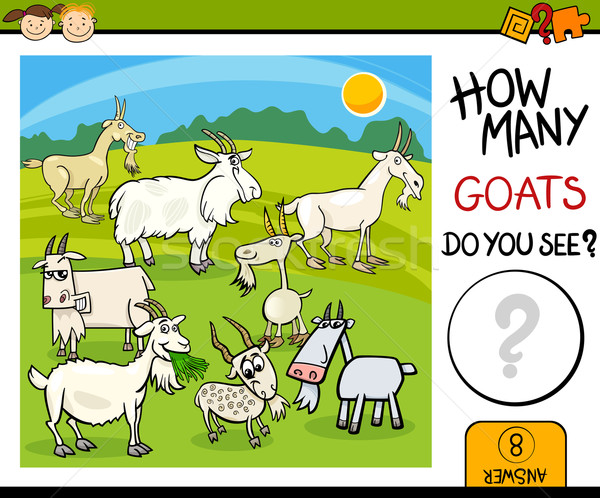 counting task with goats cartoon Stock photo © izakowski