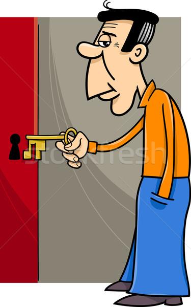 ストックフォト: 男 · キー · 漫画 · 実例 · 開設 · ドアの鍵
