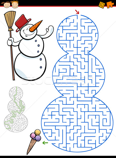 maze or labyrinth task for kids Stock photo © izakowski