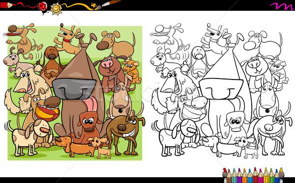Stockfoto: Hond · kleurboek · zwart · wit · cartoon · illustratie
