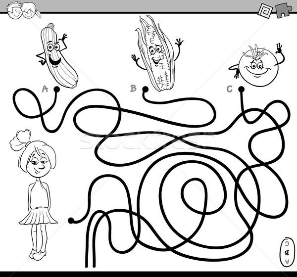 Yol Labirent Görev Boyama Kitabı Siyah Beyaz Karikatür