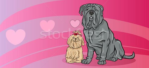 dogs in love valentine card Stock photo © izakowski