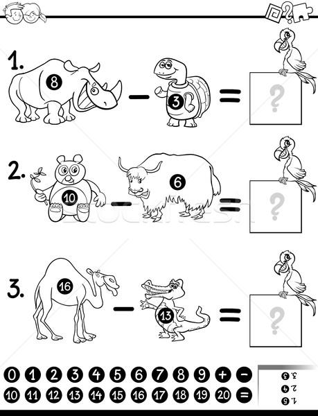 Odejmowanie gry strona czarno białe cartoon ilustracja Zdjęcia stock © izakowski